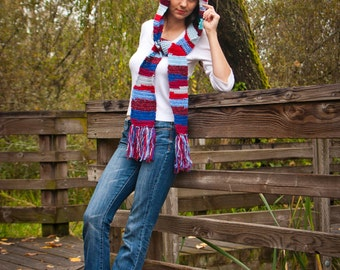 Reds and Blues Hooded Scarf with Fringe