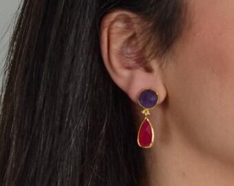 Purple Amethyst and Red Jade Stones Earrings