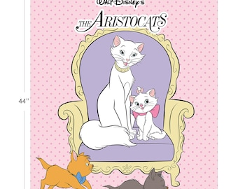 Disney Fabric Aristocats Panel in Pink From Camelot 100% Premium Cotton