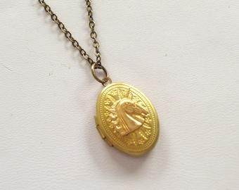 Brass Unicorn Locket Necklace, Art Deco Locket, Small Brass Oval Locket, Unicorn Jewelry, Unicorn Necklace, Gold or Antiqued Brass Chain