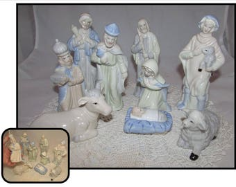 Vintage Porcelain Christmas Nativity Set, pastel, 3 Wise Men, Mary, Joseph, baby Jesus, shepherd, cow, lamb