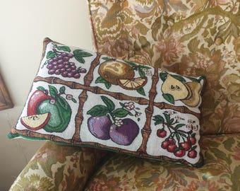 Decor Pillow - Fruit and Bamboo - Throw Pillow - Upcycled Home Decor - Summer Fruit