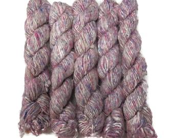 Banana Silk Vegan Yarn,  White/pink/Lilac , 100g