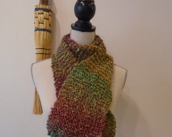 Warm, fuzzy hand knit scarf, yellow, green, red