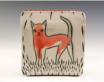 A Ceramic Square Plate by Jenny Mendes - Kitten