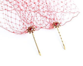 Red Birdcage Veil Bandeau Style Veil Rhinestone Hair Pins Red Blusher Special Occasion Hair Accessories
