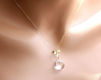 Gold Crystal Necklace, Mother of Bride Gift, Bridal Necklace, Bridesmaids Gift, Gift for Her, Orchid Necklace, Gold Flower Necklace, Wedding
