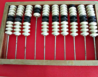 Vintage Russian USSR Soviet Wooden Counting Abacus, counting frame, ussr