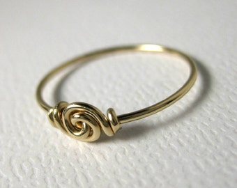 Promise Ring Valentine Love Knot Ring for Tiny Fingers Pinky Ring Knuckle Ring Wire Wrapped 14k Yellow Gold Filled Forget-Me-Knot Fingerling