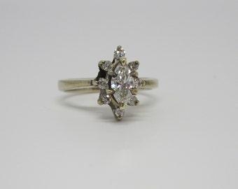 Diamond Ring, 14k White Gold Marquise Diamond Ring, Engagement Ring, Vintage Wedding