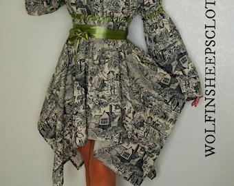 Handkerchief Dress Cream Toile With Sage Green Satin Ribbon