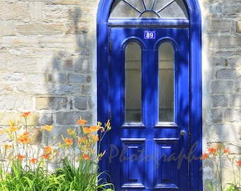 IN STOCK Door Photos Old Quebec City PhotoTravel photography Blue Green Gray Wall Art Home decor, Blue door print, old door art Matted photo