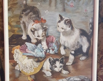Oil painting of Kittens playing.