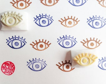 eye rubber stamp set | diy birthday wedding scrapbooking | gift wrapping | quirky holiday crafts | hand carved by talktothesun | set of 2