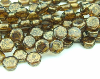 30x Czech Honeycomb Beads 6mm Hexagonal 2 Hole Topaz Bronze Picasso