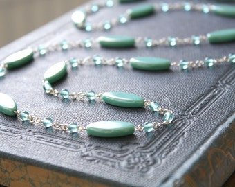 Longing Necklace - Teal Green Turquoise Glass Beaded Sterling Silver Long Necklace, handmade jewellery by Ikuri immortelle, FREE SHIPPING