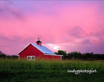 Primitive Red Barn Photograph Beautiful Colour 5x7 No Matting