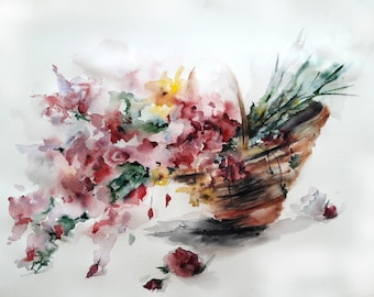 Watercolor painting, Basket with flowers, Wall Art, Home decoration, Art, painting