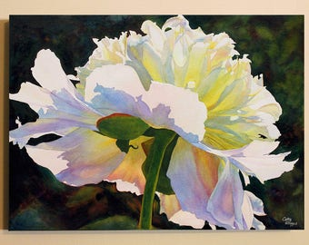 White Peony Art Watercolor Painting Canvas Print by Cathy Hillegas, 30x40 canvas art, watercolor peony, peony canvas art, Mothers Day gift