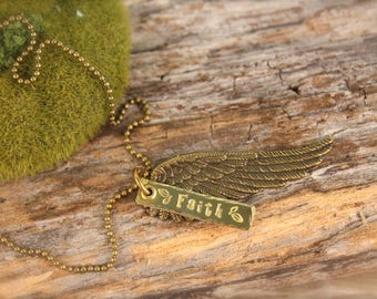 Wing Angel Faith Feather Necklace