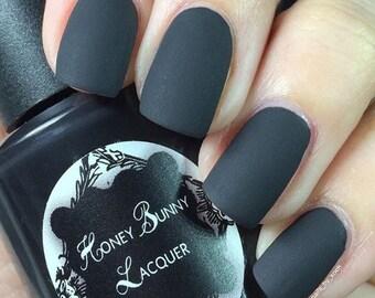 For Whom the Bell Tolls - matte nail polish - matte black - 5 free - handmade - indie nail polish - black nail polish - nails - manicure