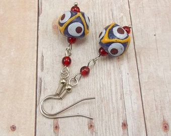 Earrings - African Painted Glass Beads - Blue with Yellow, White and Red - Powder Glass - Tribal - Trade