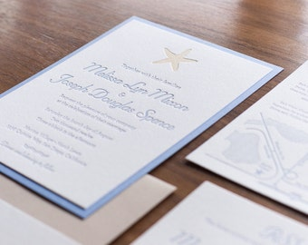 Beach Letterpress Wedding Invitations