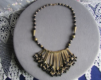 vintage Goldtone NECKLACE with Black and Goldtone  beads ; **   Jewelry