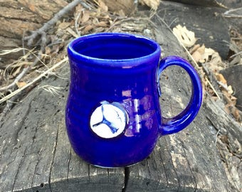 Cobalt Blue Ginkgo Tea Cup, Small Mug, Pottery Handmade by Daisy Friesen