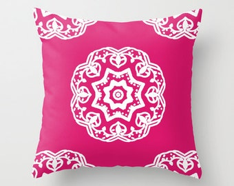 Medallion Pink and White Pillow Cover - Modern Home Decor - includes insert