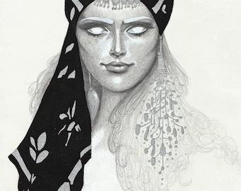 Gypsy illustrated portrait - A5 print