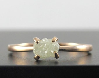 14K Rose Gold Uncut Diamond Ring - White Raw Rough Diamond - Conflict Free - Engagement Ring Solitaire