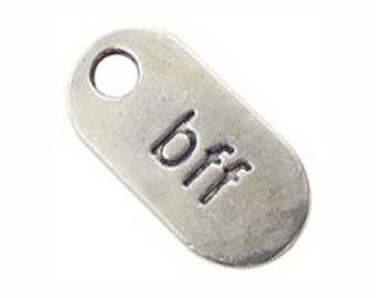 5 Silver BFF Charm Best Friend Pendant 25x10mm by TIJC SP0284