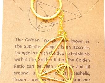 Fibonacci Keychain-Golden Ratio-Golden Triangle-Math Keychain-Sacred Geometry-Teacher Gift-Science Gift-Graduation Gift-Math Gift
