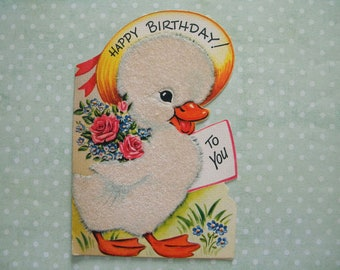 Vintage Flocked Birthday Card with Fuzzy Duckling Signed