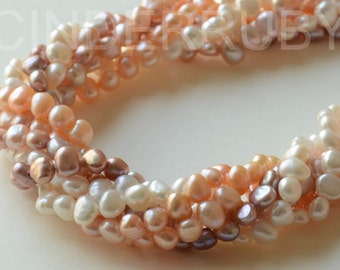 White Baroque Nugget Freshwater Pearls,Potato Pearls,Peachy Pearls,Mauve Pearls,6-7 mm,Full Strand,Jun Birthstone