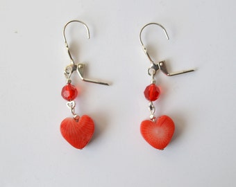 Valentine red bamboo coral hearts dangle earrings.