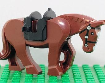 Brown Horse Custom minifigure (Lego Compatible) Mare Stud Pony Midevil Stallion Colt Flilly Gelding Christmas Stocking Stuffer Birthday Gift