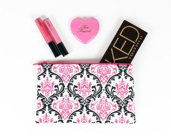 LIMITED - Pink Black and White Damask makeup bag - In Stock Ready To Ship