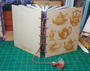 Large Wooden Cover Hand bound Journal with Engraved Vintage Illustration of Teapots