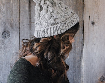 The Kacey Beanie, Braided Cable with a Pom-Pom