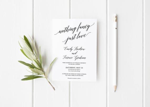 Nothing Fancy Just Love Wedding Announcement Template