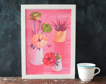 Anemone and ranunculas, a floral still life, botanical art print, for the home, house warming, for a gardener, plant lover, peachy pink,