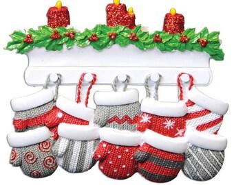 Family Christmas Ornament  Family of 10 Ornament Family of Ten Mitten Ornament Family Mittens Personalized Christmas Ornament