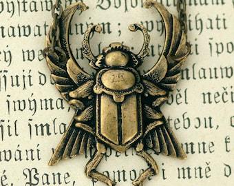 Art Deco Bug Necklace- Antiqued Brass
