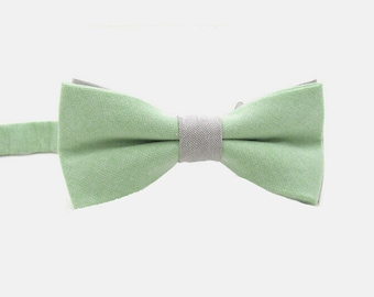 Mint Green Bow Tie with Light Grey Strap.Light Green Bow tie.Pastel Green Bowtie.