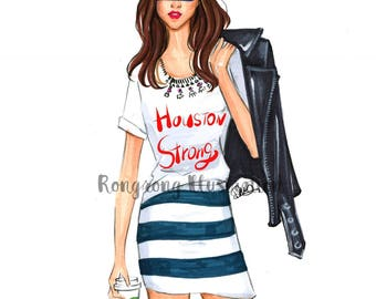 Special edition Fashion illustration- HoustonStrong Girl