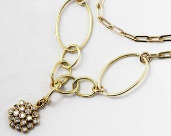 Pavé Diamond Cluster Necklace Bezel Set Diamond Cluster Adjustable Genuine Diamond Necklace Large Open LInk Diamond Jewelry PD-N-184-Cluster