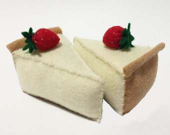 Cheesecake Slice Topped with Strawberry Catnip Cat Toy