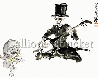 """Dancing yokai and skeleton - 三味線を弾く洋装の骸骨と踊る妖怪, ink on paper. (all artworks are sold without the """"Calliope's Bucket"""" stamp)"""